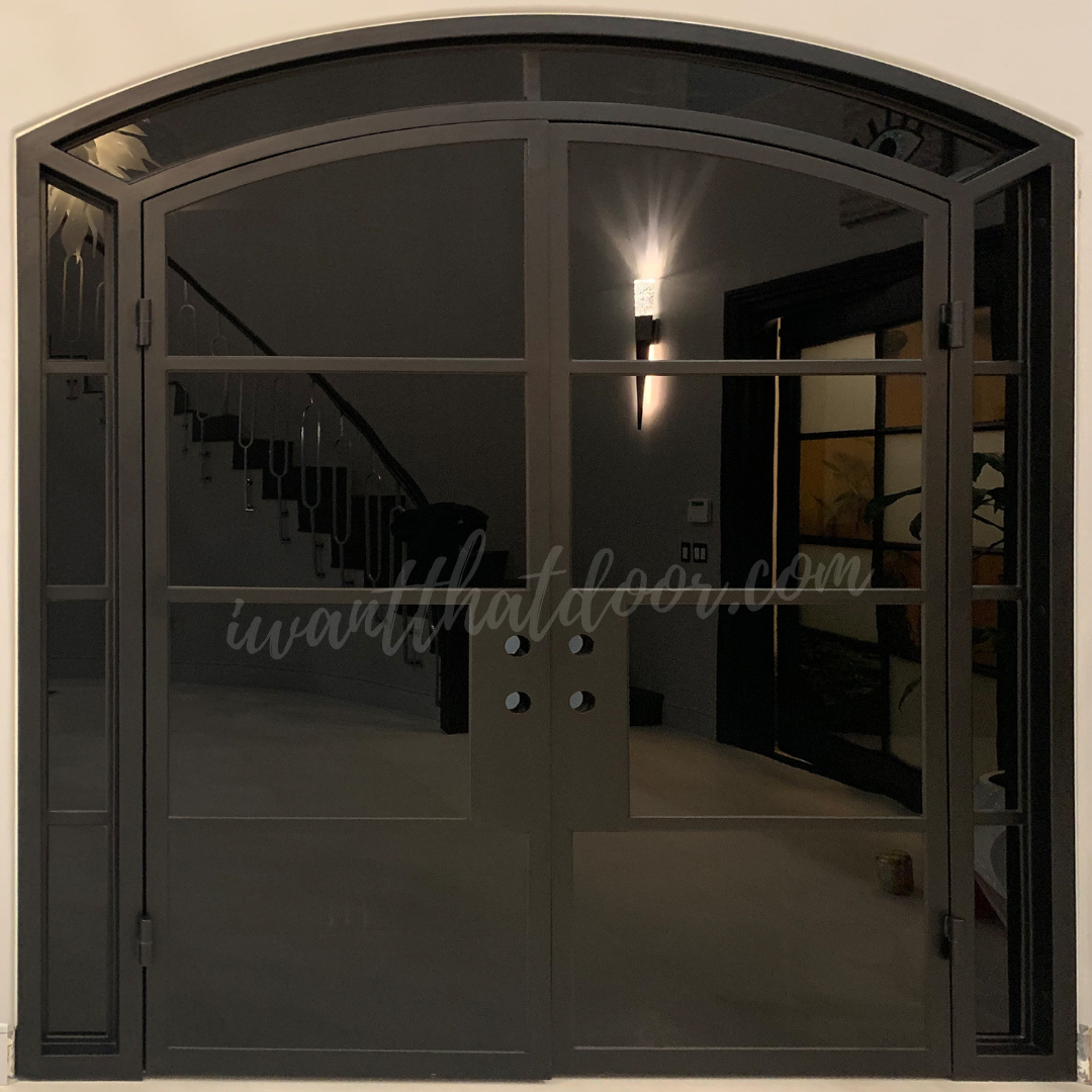 Aurora Steel French Interior Door w/ Black Glasses