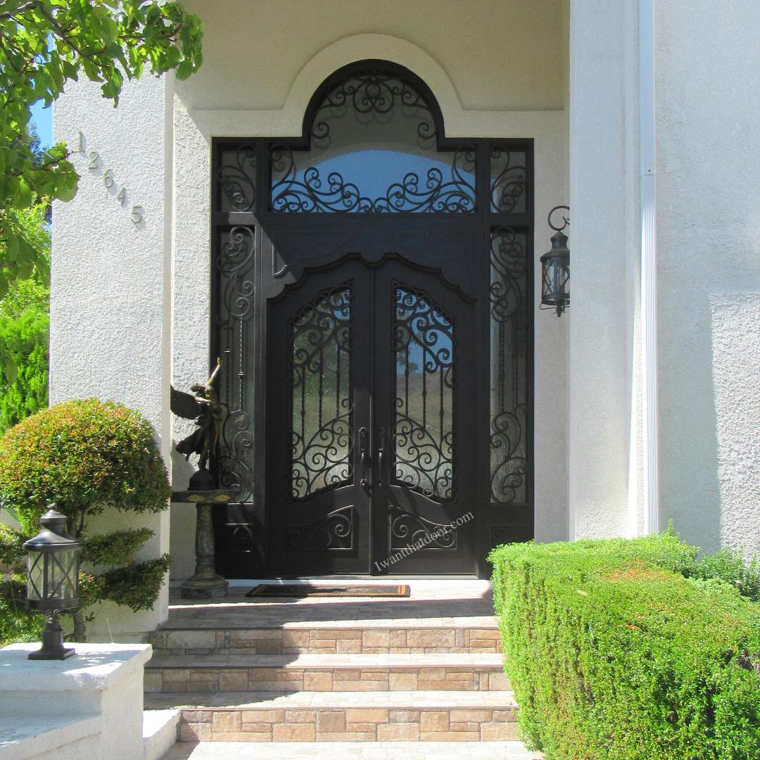 Centennial Double Entry Iron Door w/ Transom