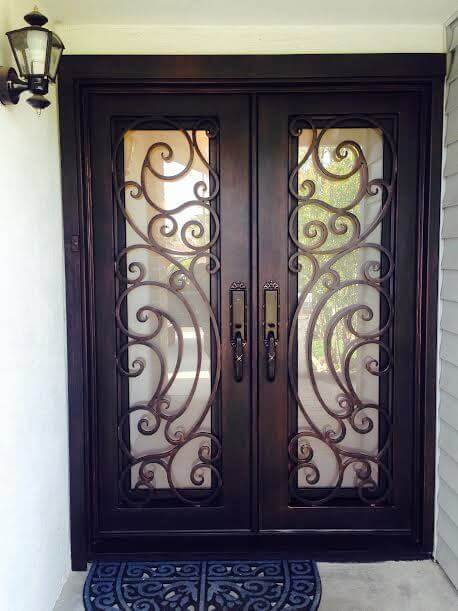 Tiffany Square Top Ornate Wrought Iron Double Door