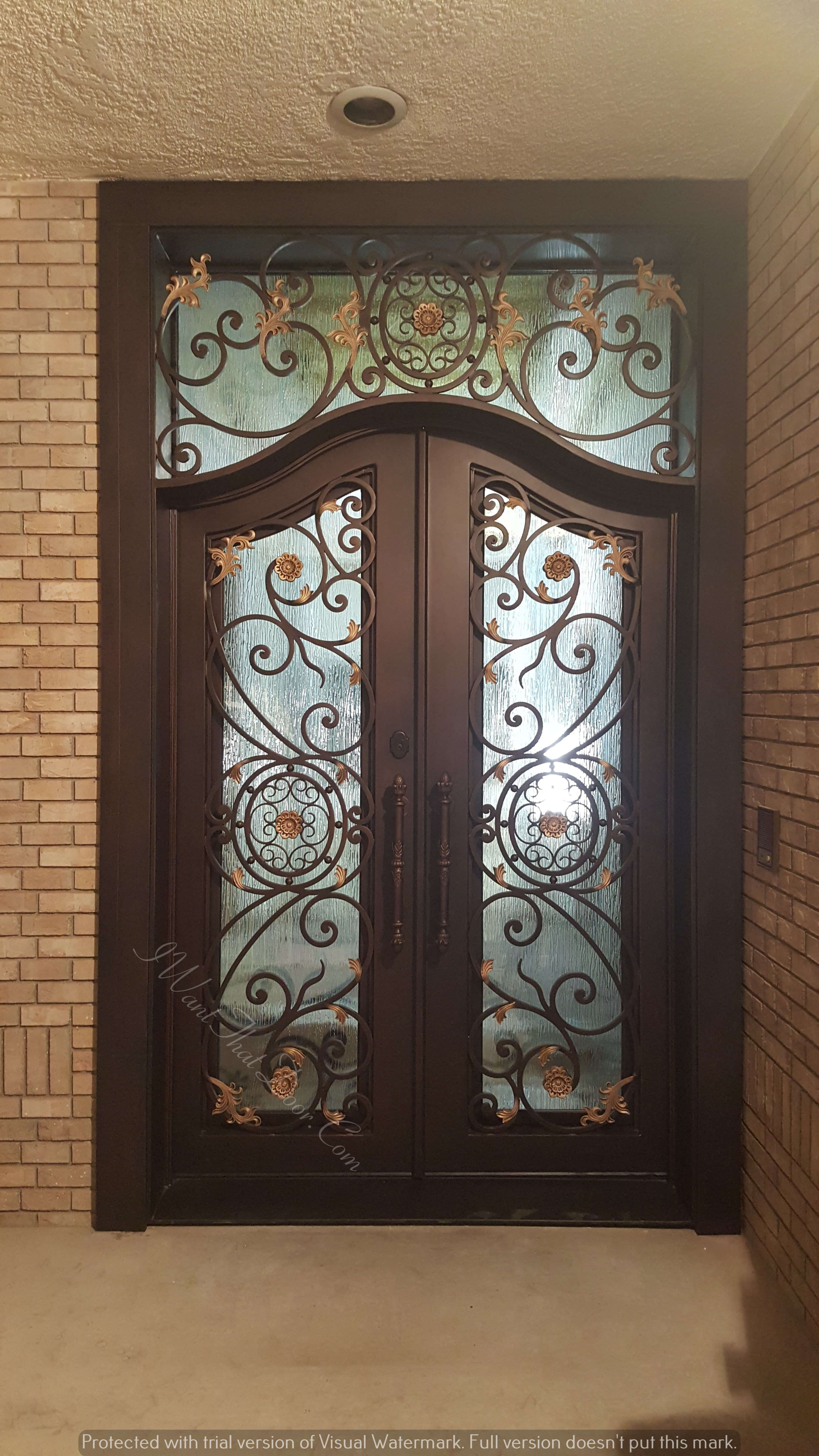 Denver Custom Top And Square Transom Double Entry Iron Doors