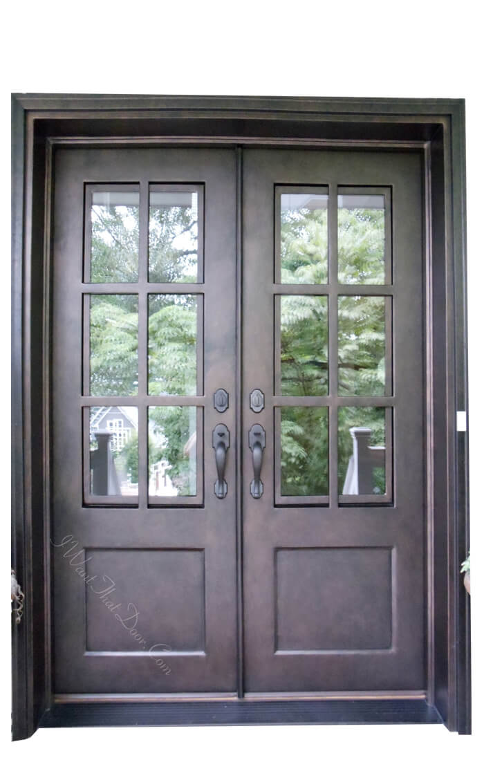 Essex Square Top Iron Double Exterior Doors With Square Glass Close-Up