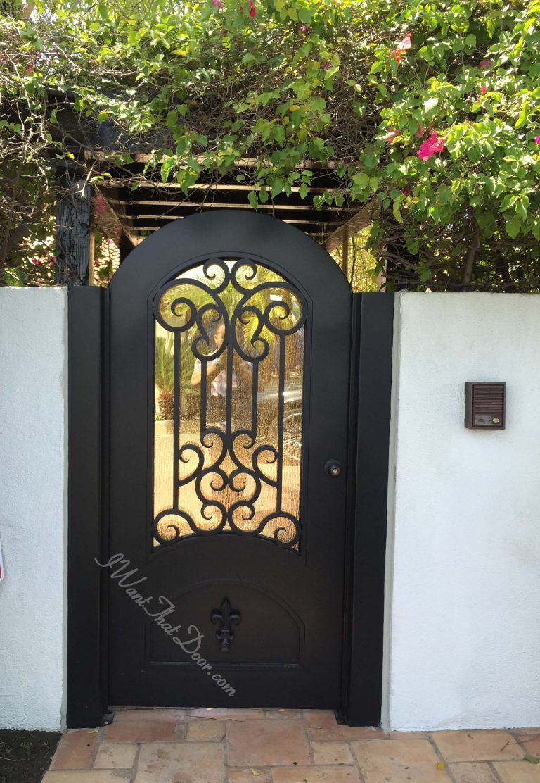 Wrought Iron Exterior Entry Gate With Round Top