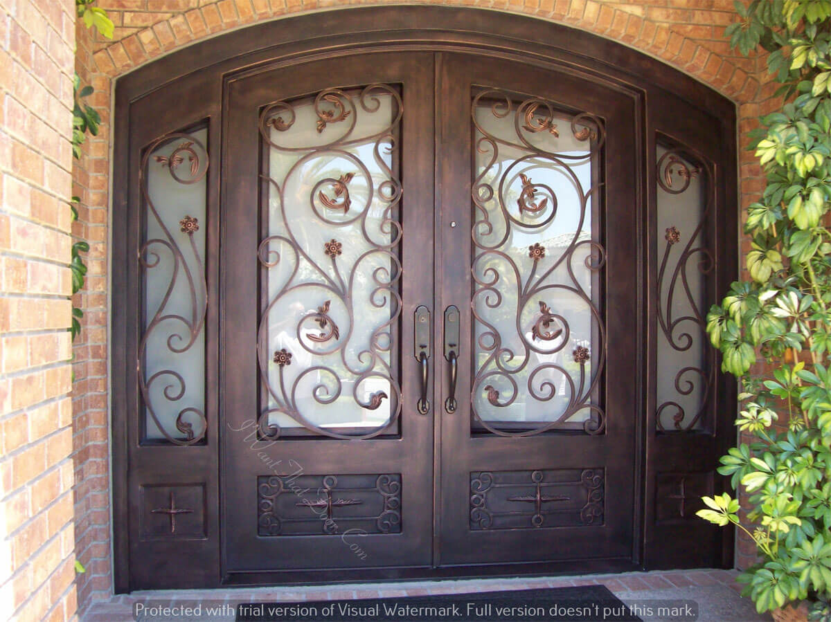 Pietro Eyebrow Top Ornamental Iron Double Exterior Door With Sidelights