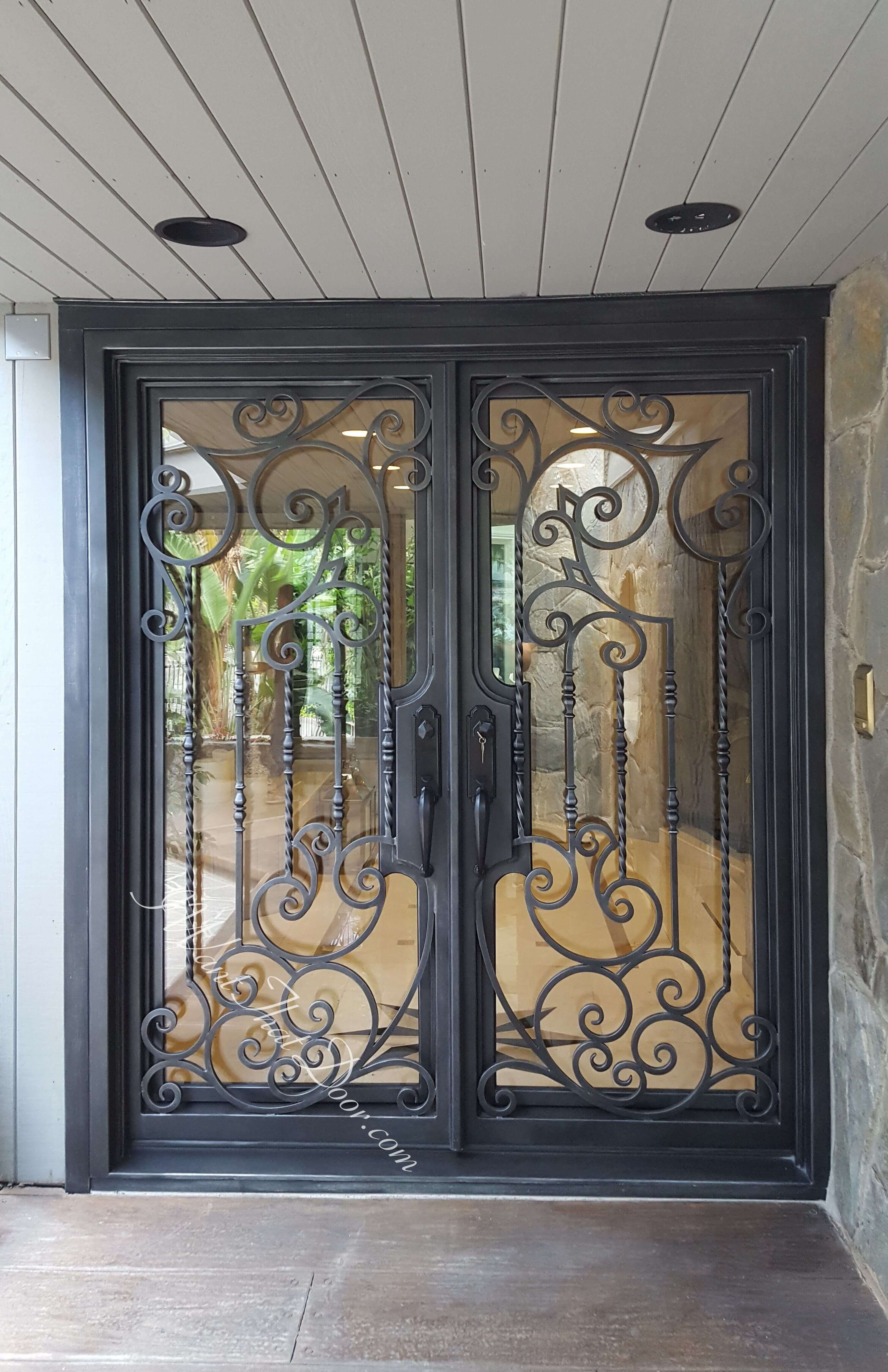 Decorative Scroll Wrought Iron Double Entry Doors