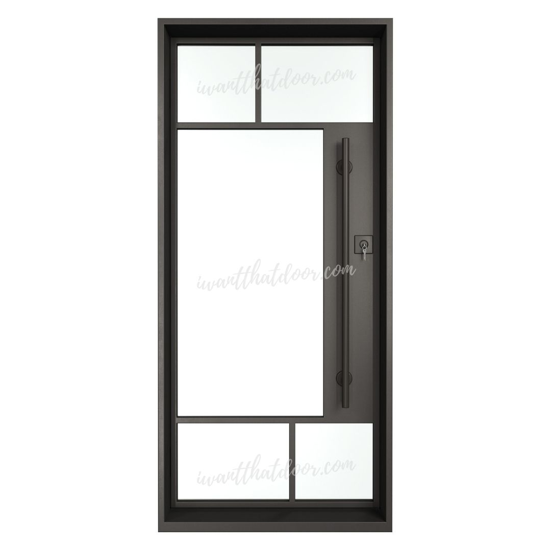 Akron Single Entry Iron / Steel French Door (Front View)
