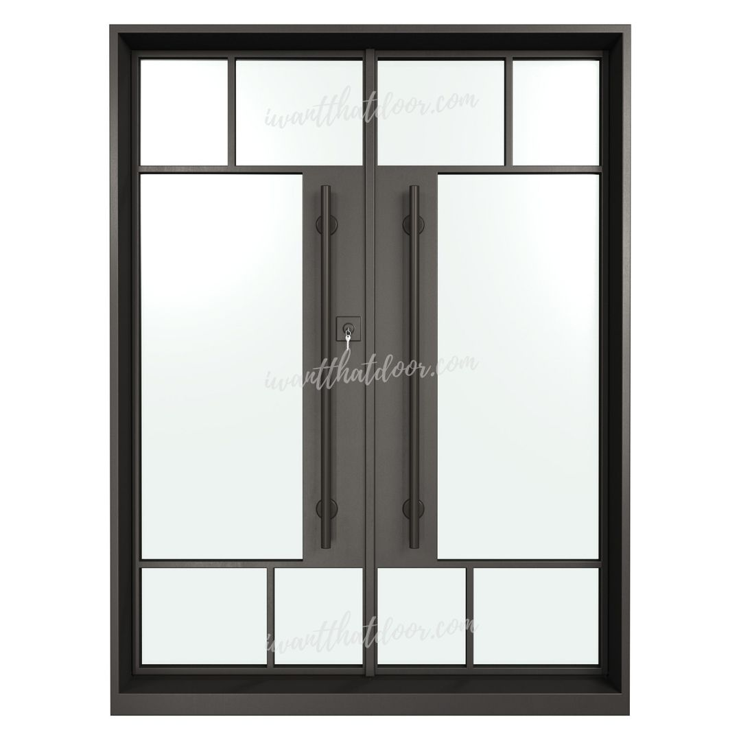 Akron Double Entry Iron Steel French Doors (Front View)