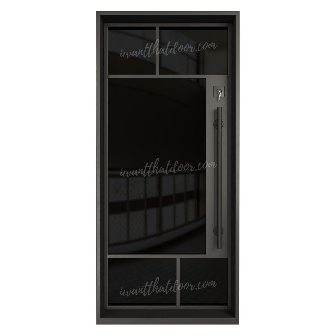 Akron Single Entry Iron / Steel French Door (Black Glass)