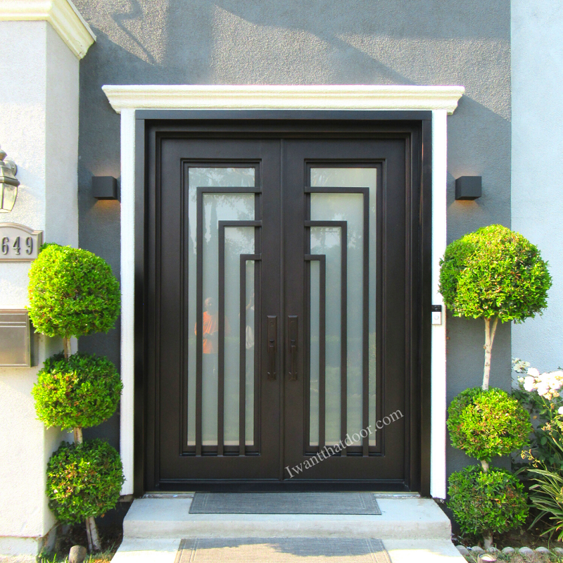 Piazza Square Top Double Entry Iron Doors