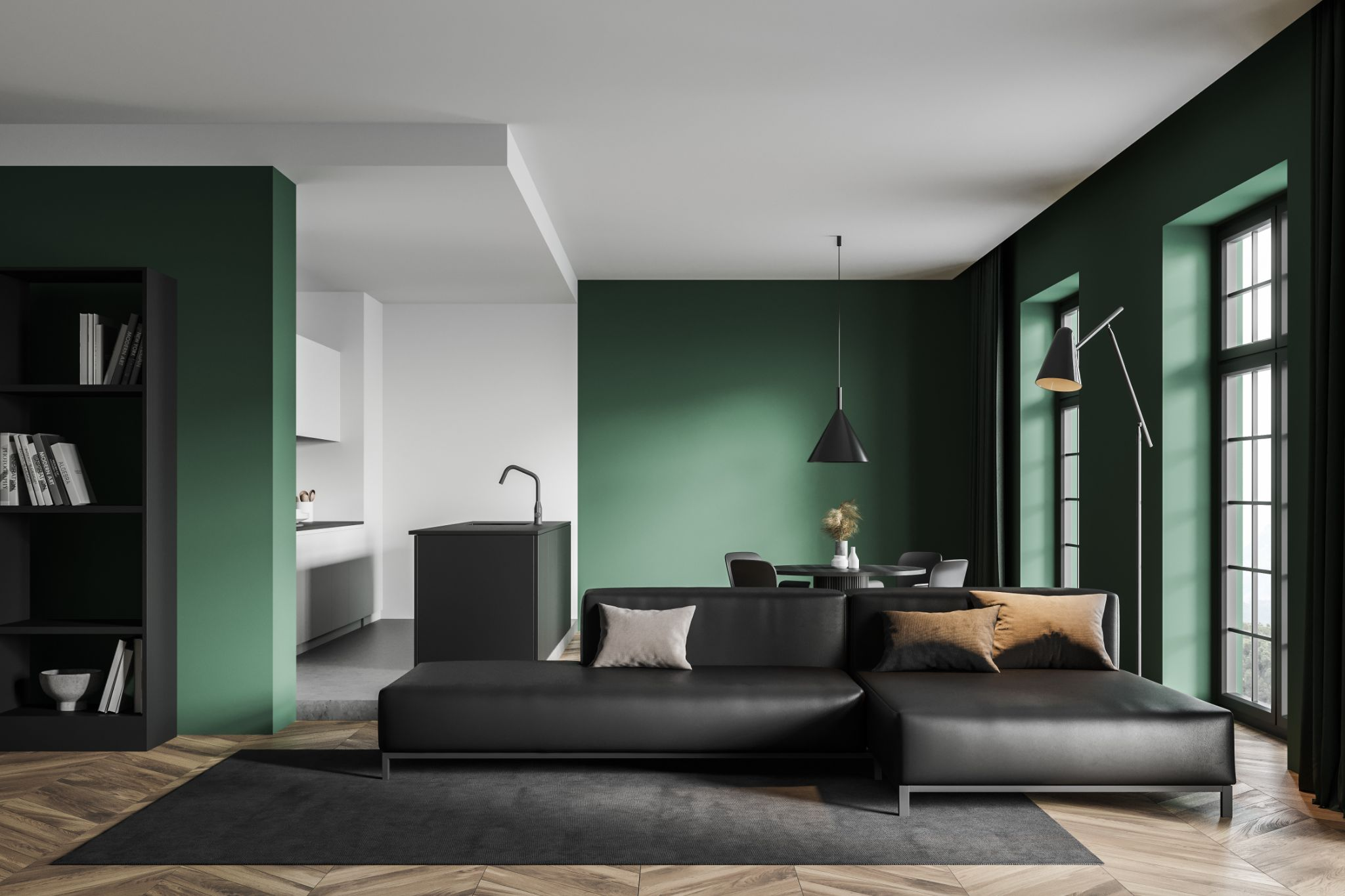 Interior of modern living room with white and green walls, wooden floor and big sofa